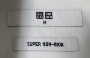 ユニクロ スーパーノンアイロンシャツのタグ